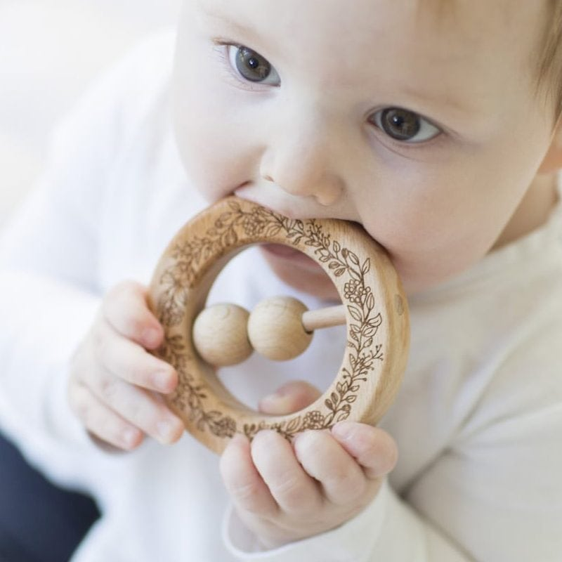 Wooden Baby Teething Rattle Ring